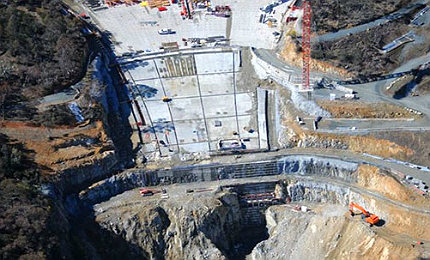 The new dam is being built downstream of the existing Cotter Dam