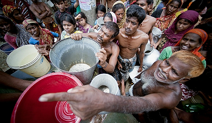 Water is supplied by the military in Old Dhaka, Bangladesh