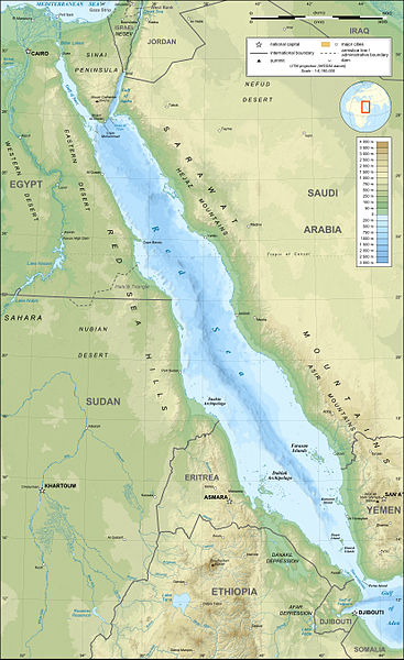 Red Sea topographic map