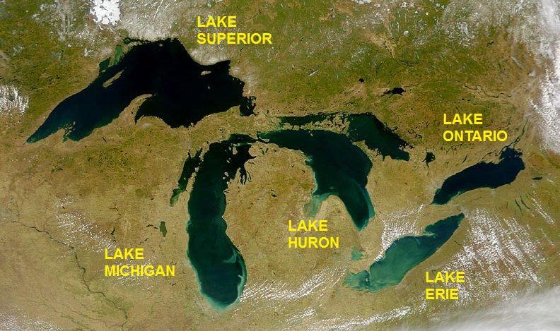 Satellite image of Great Lakes