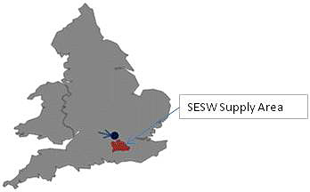 Map indicating the supply area of Sutton & East Surrey Water in England