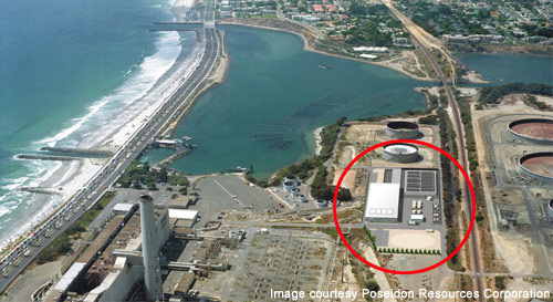 An aerial view of the Carlsbad desalination project in San Diego, California.